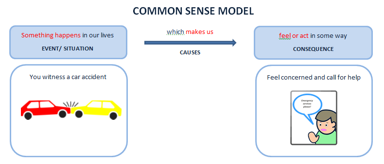 Common sense model showing that we often think something happens to make us feel/ behave in a certian way